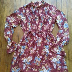 Pink Rose Romantic Floral Smocked Dress Small H
